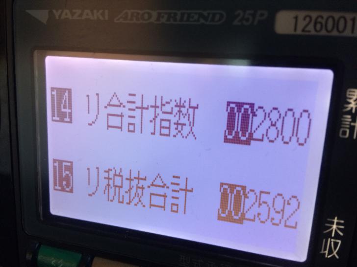 タクシー昼勤の売り上げ・メーター